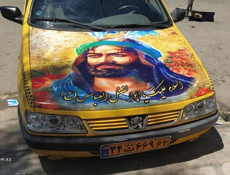 طرح محرم روی ماشین در شیراز