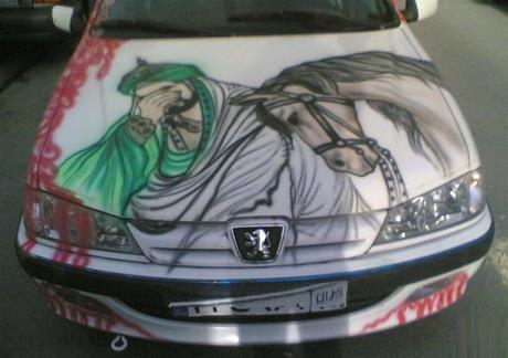 طرح محرم روی ماشین شیراز