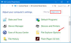 Open Folder Options from Control Panel