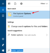running Windows 10/8, type folder options