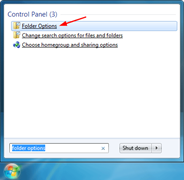 Start button and type folder options